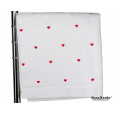 Банное полотенце «Love» Soft Cotton 75x150 бело-красное